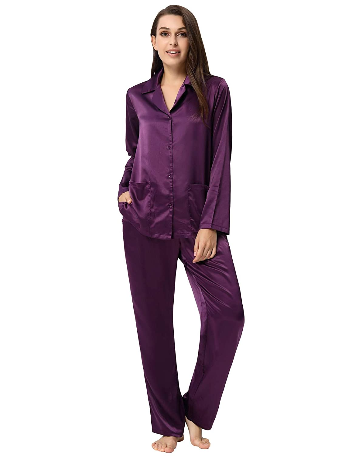 Purple Zexxxy Women Pajama Set Long Sleeve Silky Satin Button Down Loungewear ZE325