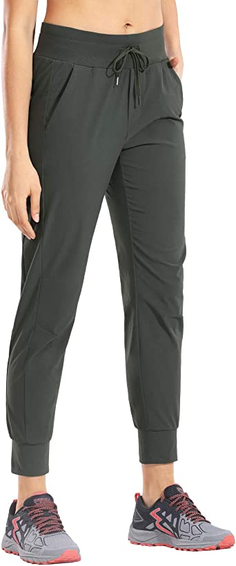 CRZ YOGA Women's Hiking Pants Lightweight Quick Dry Drawstring Joggers with Pockets Elastic Waist Travel Pull on Pants