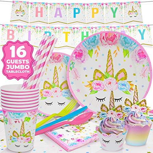 Cheap ecoZen Lifestyle Ultimate Unicorn Party Supplies and Plates for Birthday Party | Best Value Un...