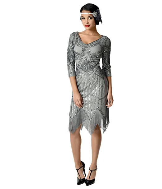 5d4fbfe5989 Unique Vintage 1920s Grey Beaded Sequin Sleeved Noemie Fringe Flapper Dress   Amazon.ca  Clothing   Accessories