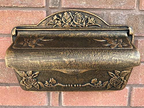 Antique Victorian Style Brown Bronze Color Outdoor Garden Courtyard Villa Personality Upscale Fashion European Outdoor Cast Aluminum Mailbox Postbox Newspaper (Copper Verde Cast)