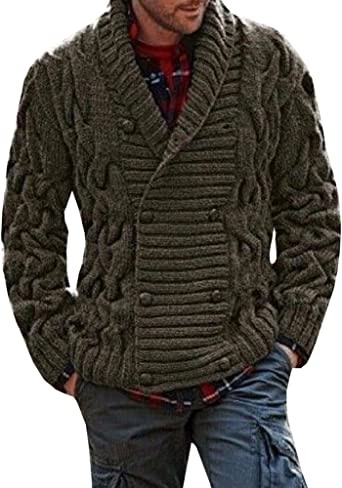 Mens Casual Slim Fit O-Neck Cable Knitwear Pullover Sweater