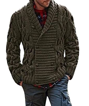 955222ab8 Mens Casual Cable Knit Shawl Collar Cardigan Solid Color Slim Fit ...