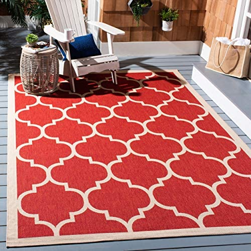 Safavieh Courtyard Collection CY6914-248 Red and Bone Indoor Outdoor Area Rug 9 x 12