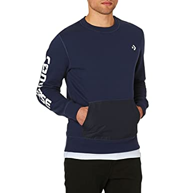 Converse Hombre Mixed Media Sweatshirt, Azul, Small