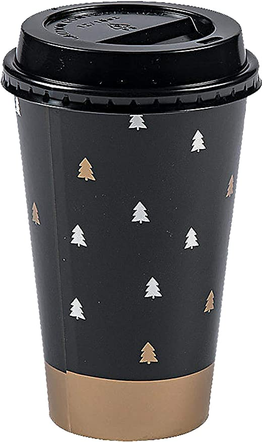 Amazon Com Disposable Coffee Or Hot Chocolate Cups With Lids 16 Oz Bold Christmas Design 24 Count Kitchen Dining