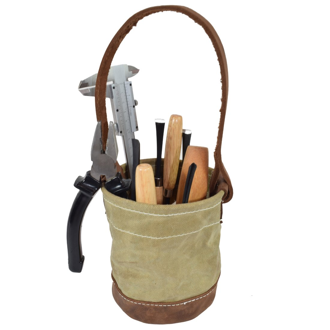 Waxed Canvas Leather Bottom Tool Bucket for Work/Camping/Fishing Organizer Handmade by Hide & Drink