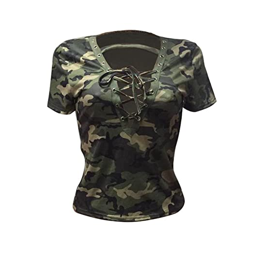 dbd793720b780 Lavany Womens Tops Plus Size Short Sleeve Shirt Blouse Camouflage Print  Clothes (S, Army