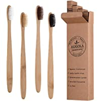 Bamboo Toothbrushes | Family 4 Pack | Eco-Friendly & Natural Organic Wooden Toothbrush| Biodegradable | BPA Free | Medium Soft Bristles Toothbrushes, Perfect eco Gifts for Home and Travel