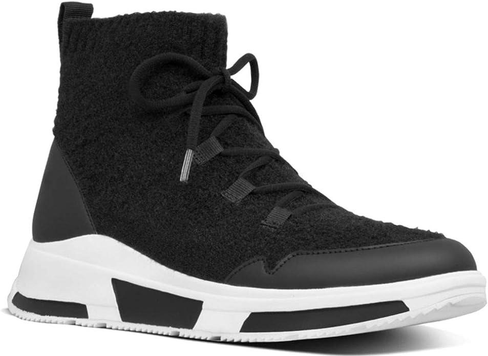 Fitflop COMFFKNIT Sock Boots Black Sneaker Donna Feltro