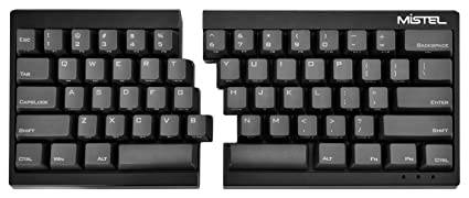 5a835c44d88 Mistel Barocco Ergonomic Split PBT Mechanical Keyboard with Cherry MX Blue  Switches, Black
