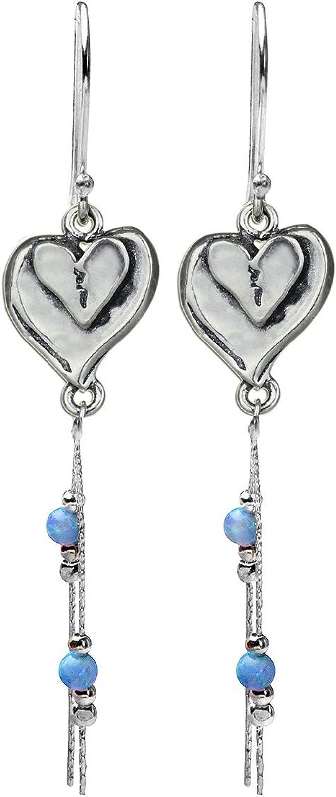 Heart earringblue heart earringfire Opal heart Heart post earringsGenuine925 sterling silver stud earringsMade in USA