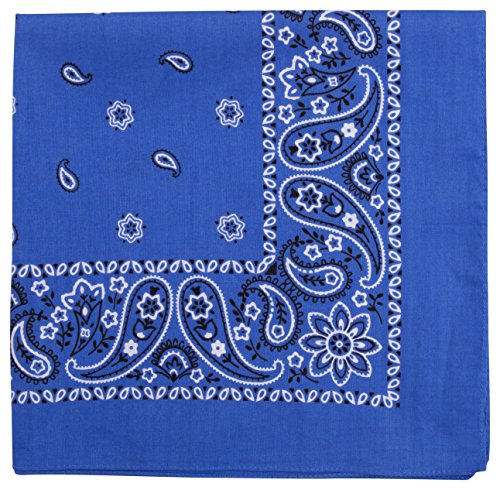 Elephant Brand Bandanas 100% cotton since 1898-12 Pack (Peacock Blue)