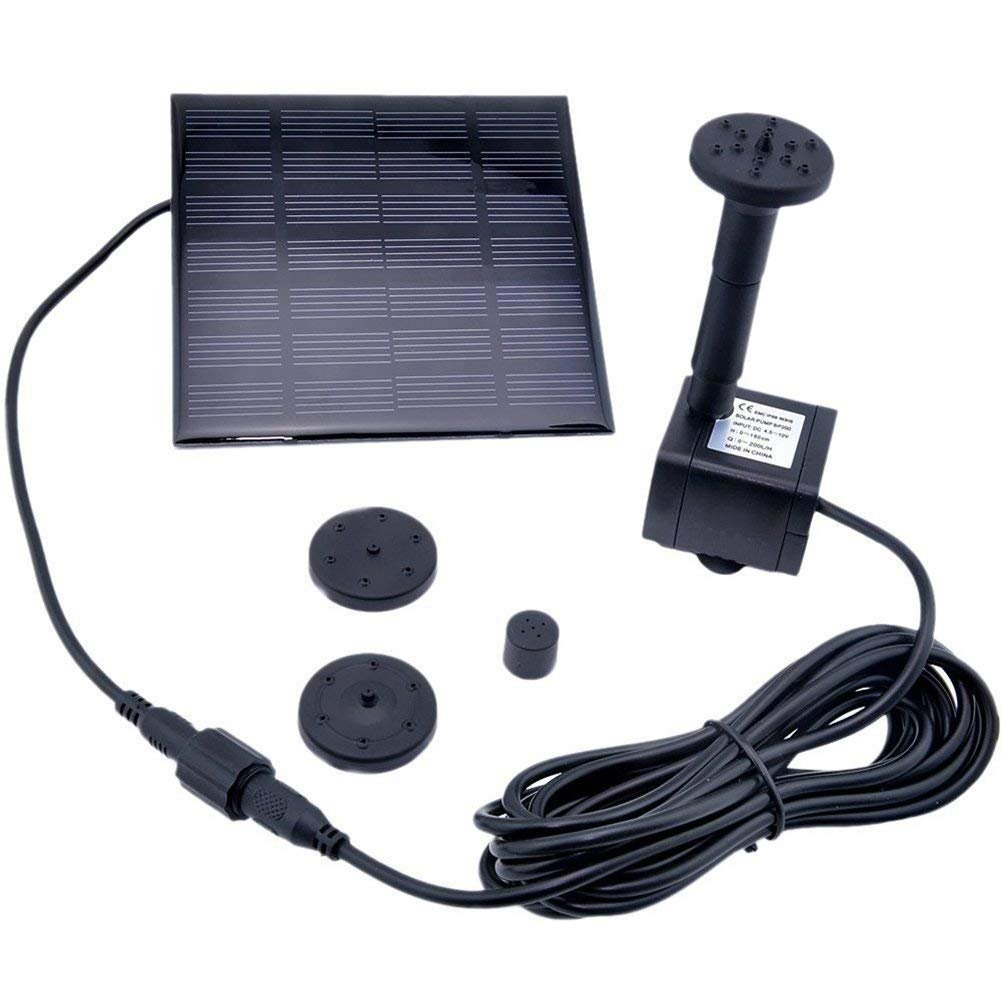 KELOMTECHNOLOGY Solar Power Water Pump Panel Kit Submersible Water Pump for Pool Garden Pond Birdbath Fountain, 1010cm Square Solar Panel 7V 180L/H Solar Pump
