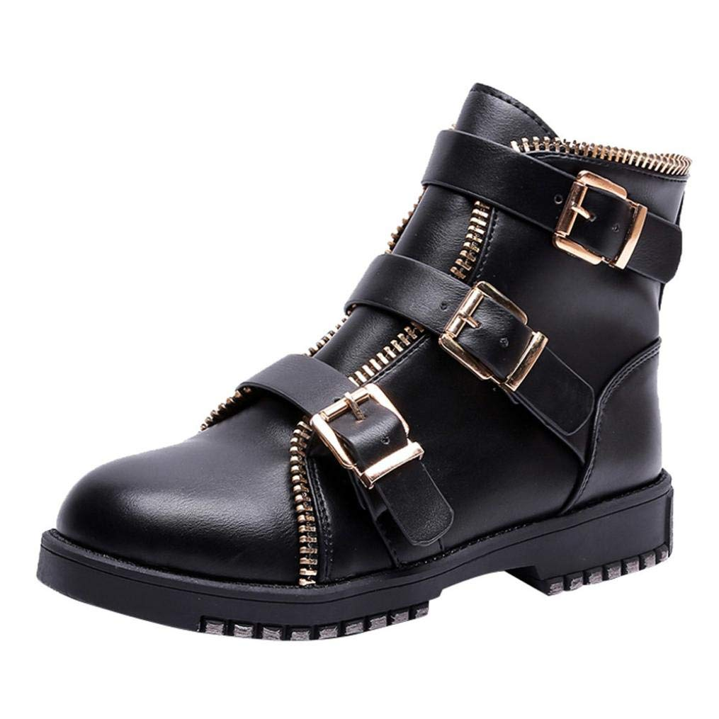 Anxinke Casual Round Toe Bootie Buckle Strap Low Heel Ankle Boots (7.5 B(M) US, Black)