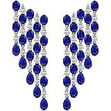 Blue Sapphire SGL Certified Diamond Chandelier Earring, Blue Stone Bridal Wedding Teardrop Long Earring, September…