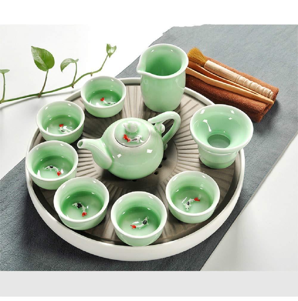 Chuangrong Vintage Chinese & Japanese Style Porcelain Handmade Kung Fu Tea Set, 13-Pack
