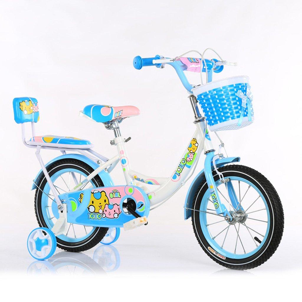 子供用自転車3-5歳子供用自転車14インチ用赤ちゃん用自転車ハイカーボンスチールベビーキャリッジ、ピンク/青/緑 (Color : Blue) B07CXP6NXW