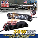 Super Slim 7.5Inch 30W Cree Led Driving Work Light Bar Spot Offroad 4WD Suv Bar