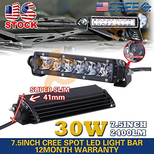 Super Slim 7.5Inch 30W Cree Led Driving Work Light Bar Spot Offroad 4WD Suv Bar by Unknown
