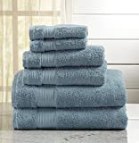 Great Bay Home 6-Piece Luxury Hotel/Spa 100% Turkish Cotton Towel Set, 600 GSM. Includes Bath Towels, Hand Towels and Washcloths. Grace Collection Brand. (Rain Blue)