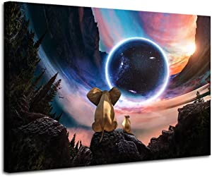 Wall Art Elephant Decor Animal Wall Art Artwork Bathroom Resting Elephant and Dog Look At The Space Planets and Galaxy Nebula Black Art Paintings for Wall Framed Moon Bedroom