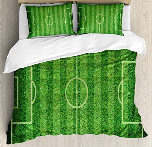 Boy's Room Queen Size Duvet Cover Set by Lunarable, Realistic Green Grass Soccer Field Sports Hobby Competition Field, Decorative 3 Piece Bedding Set with 2 Pillow Shams, Lime Green Fern Green by Lunarable