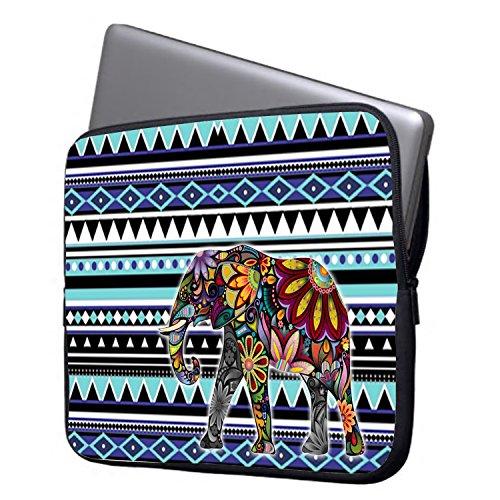 "Elonbo 13-Inch Blue Tribal Stripe Exotic Elephant Waterproof Neoprene Laptop Soft Sleeve Case Bag Pouch Cover for 13.3"" Macbook Pro / Air"
