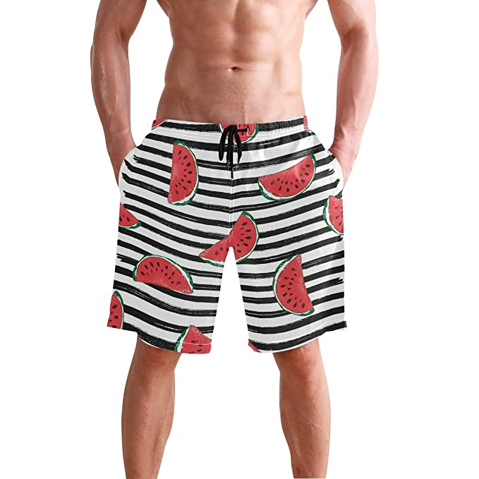 abe9d77777 Image Unavailable. Image not available for. Color: Mens Swim Trunks Red Watermelon  Black ...