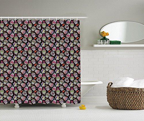 [Skulls Decorations Shower Curtain Set All Souls Day Floral Colorful Sugar Skulls Flowers On Dark Background Bathroom] (Dark Souls Black Knight Costume)