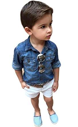 89e06f0d14c Kids Toddler Boys Denim Short Sleeve Turn Down Collar Shirt+White Shorts  Pants 2Pcs Set