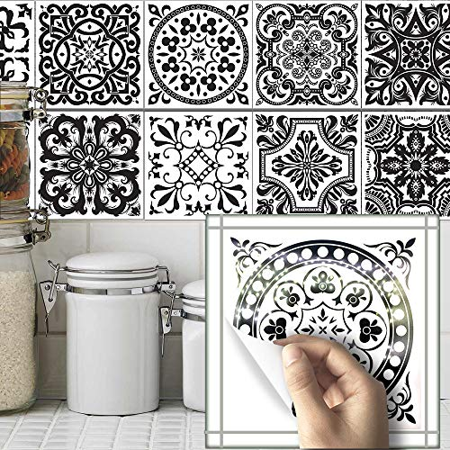 AILEGOU Waterproof Vinyl Wall Tiles Sticker for Home Decor, Self-Adhesive Peel and Stick Backsplash Tile Decals for Kitchen Bathroom Decor, 6x6inch 10 Pcs.(Black Flower)