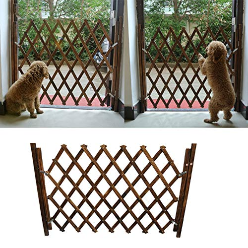 m·kvfa Small Pet Wooden Fence Isolation Door Gate Guard Telescopic Safety Rail Barrier Expanding Fence Pet Gate Pet Fence Scalable Switchable Pet Guardrail Safety Protection Divider Gate