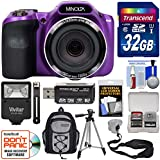 Minolta MN35Z 1080p 35x Zoom Wi-Fi Digital Camera (Purple) 32GB Card + Backpack + Flash + Tripod + Strap + Kit
