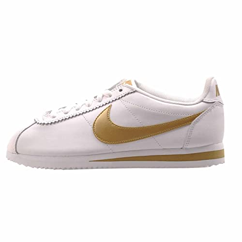 buy popular 8b9b6 304cd NIKE Women's WMNS Classic Cortez Leather HK, White/Gold ...