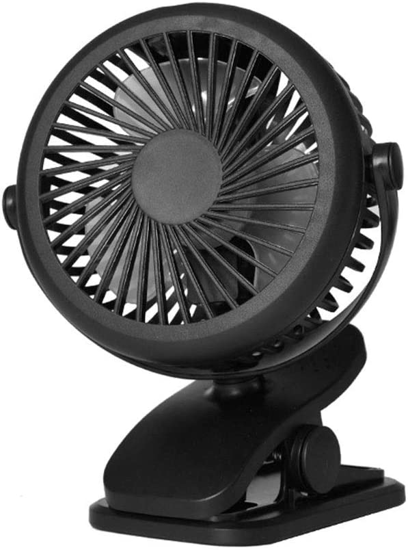 Mini Portable Fan Clip On Stroller Fan Mini USB Desk Fan With USB Powered 3 Speeds Rechargeable 2200 MAh Battery For Home And Office USB Fan for Travel Office Color : Black , Size : Free size