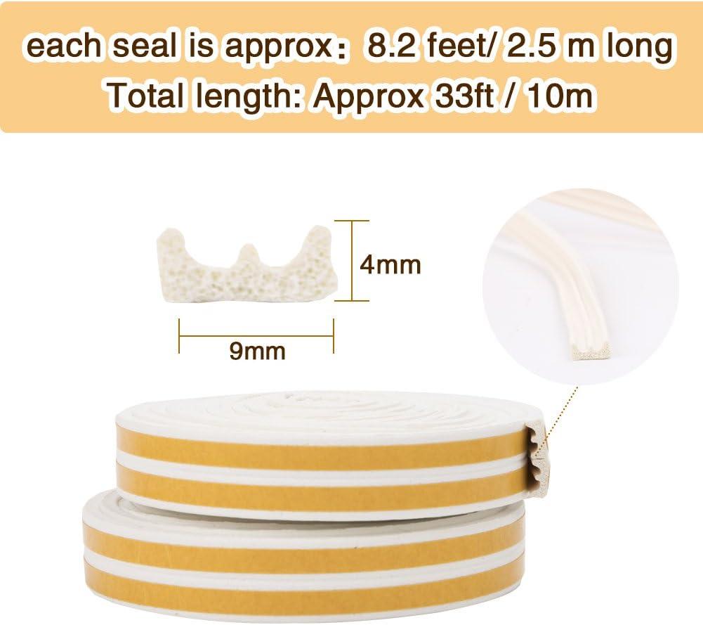 Bande de Joint E-Profil Imperm/éable Anticollision Auto-Adh/ésif Joint de porte en mousse Bande de joint d/étanch/éit/é en caoutchouc pour Fen/être// Porte- 9mm x 4mm x 2.5m,4 joints Total 10M Blanc