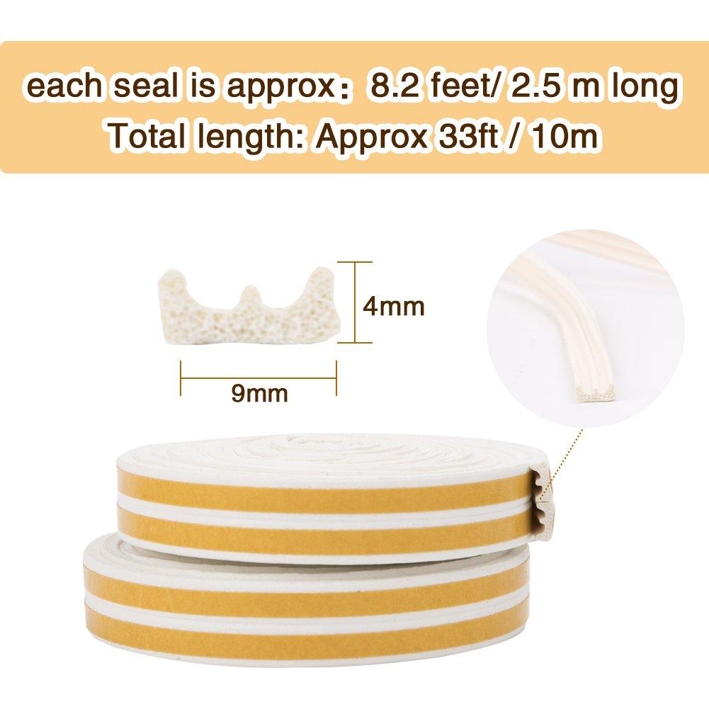 Bande de Joint E-Profil Imperm/éable Joint de porte en mousse Bande de joint d/étanch/éit/é en caoutchouc pour Fen/être//Porte -9mm x 4mm x 2.5m,4 joints Total 10M Auto-Adh/ésif Noir Anticollision