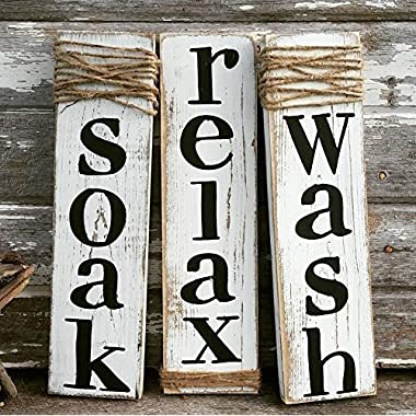 Rustic Sign Soak Wash Relax - Farmhouse Bathroom Decor - Set of Three - Whitewash Wood Sign