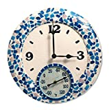 "Springfield 14"" Mosaic Sea Poly Resin Clock with Thermometer"