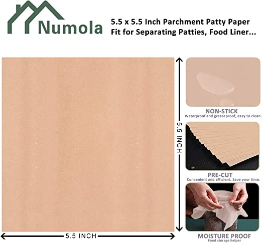5.5 x 5.5 Inch Non-Stick Multifunctional Wax Papers NUMOLA Hamburger Patty Paper 500 Pack Square /& Unbleached Perfect for Burger Press// Microwave// Freezer