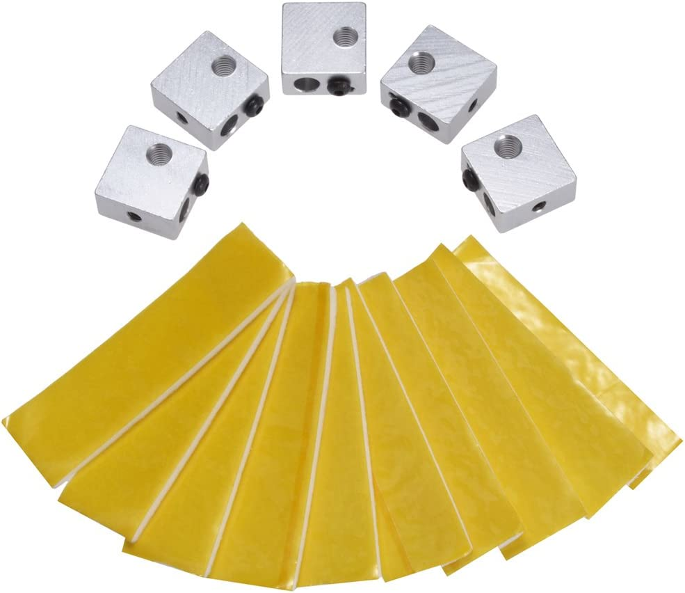 PChero 5pcs Aluminum Heater Blocks Hotend + 10 pcs Heating Block Cotton for MK7 MK8 3D Printer