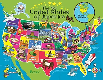 Lafayette Puzzle Factory Two Sided USA Map - Where are we?