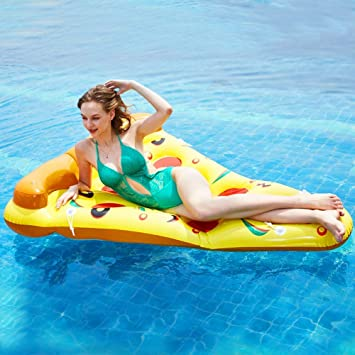 Nadar Fiesta Juguetes Inflable Balsa Pizza Flotante Fila Instalar ...