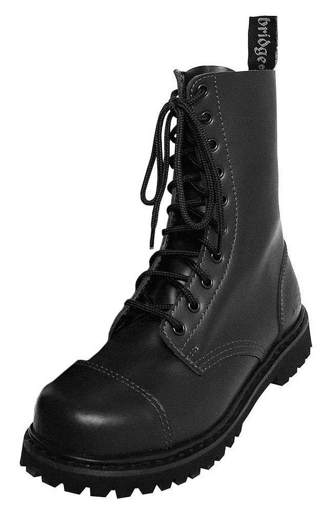 10-Loch Springerstiefel Ranger Stiefel schwarz mit Stahlkappe
