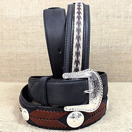 Tony Lama Mens Saddle (Tony Lama Men's Duke Center Applique Belt Black 42)