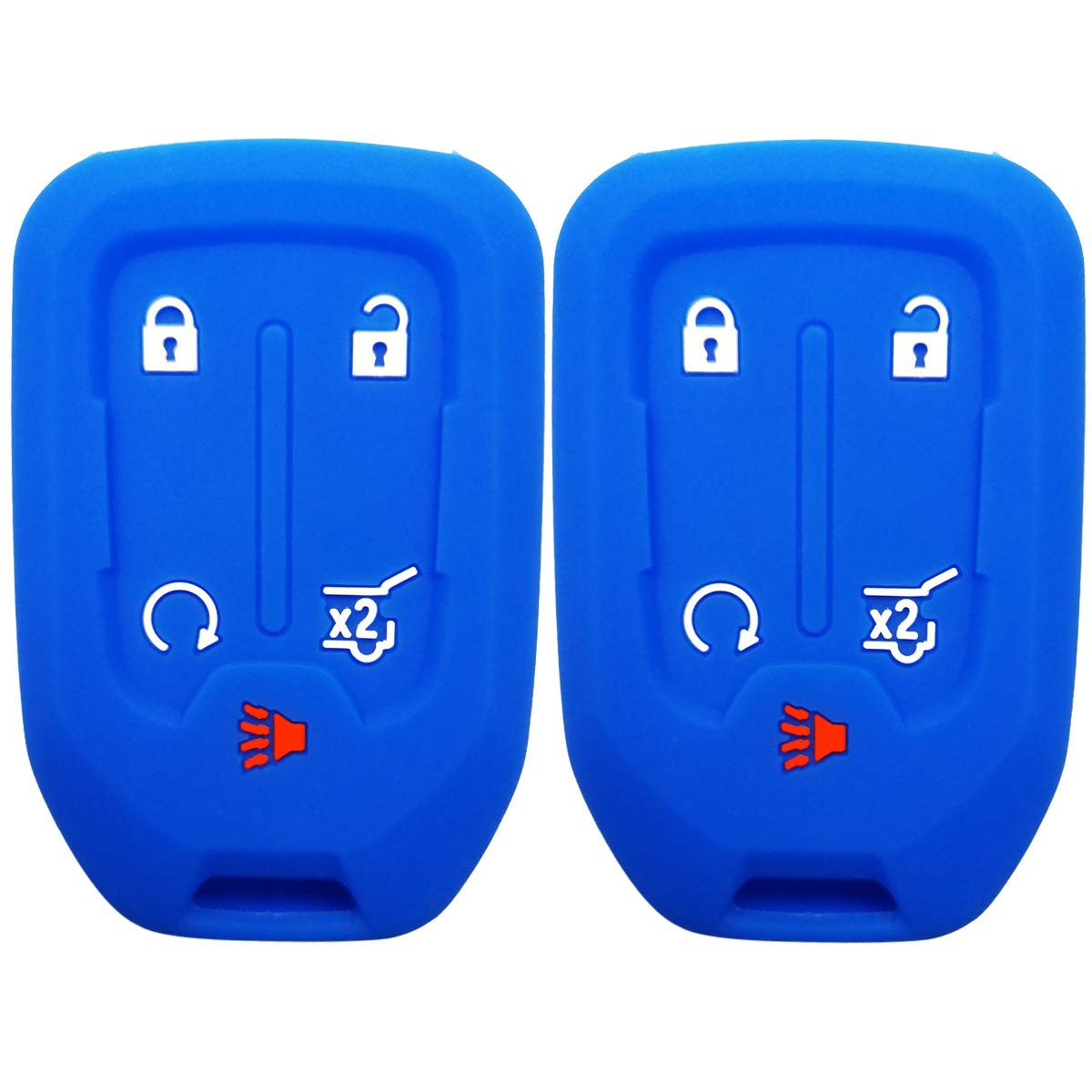 2Pcs Coolbestda Silicone 5Buttons Smart Key Fob Accessories Remote Cover Glove Skin Jacket for GMC Acadia Terrain Yukon Chevrolet Suburban Tahoe HYQ1AA 13584502 1551A-AA