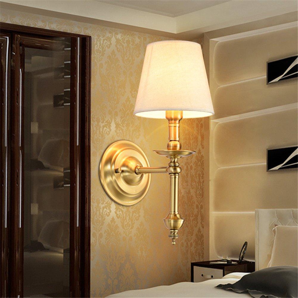 MMYNL Moderne E27 Antik Wandlampe Vintage Wandlampen Wandleuchten für Schlafzimmer Wohnzimmer Bar Flur Bad Küche Balkon Einzelner Kupfer Nachttischlampe Spiegel vorne (15  40cm) Wandleuchte