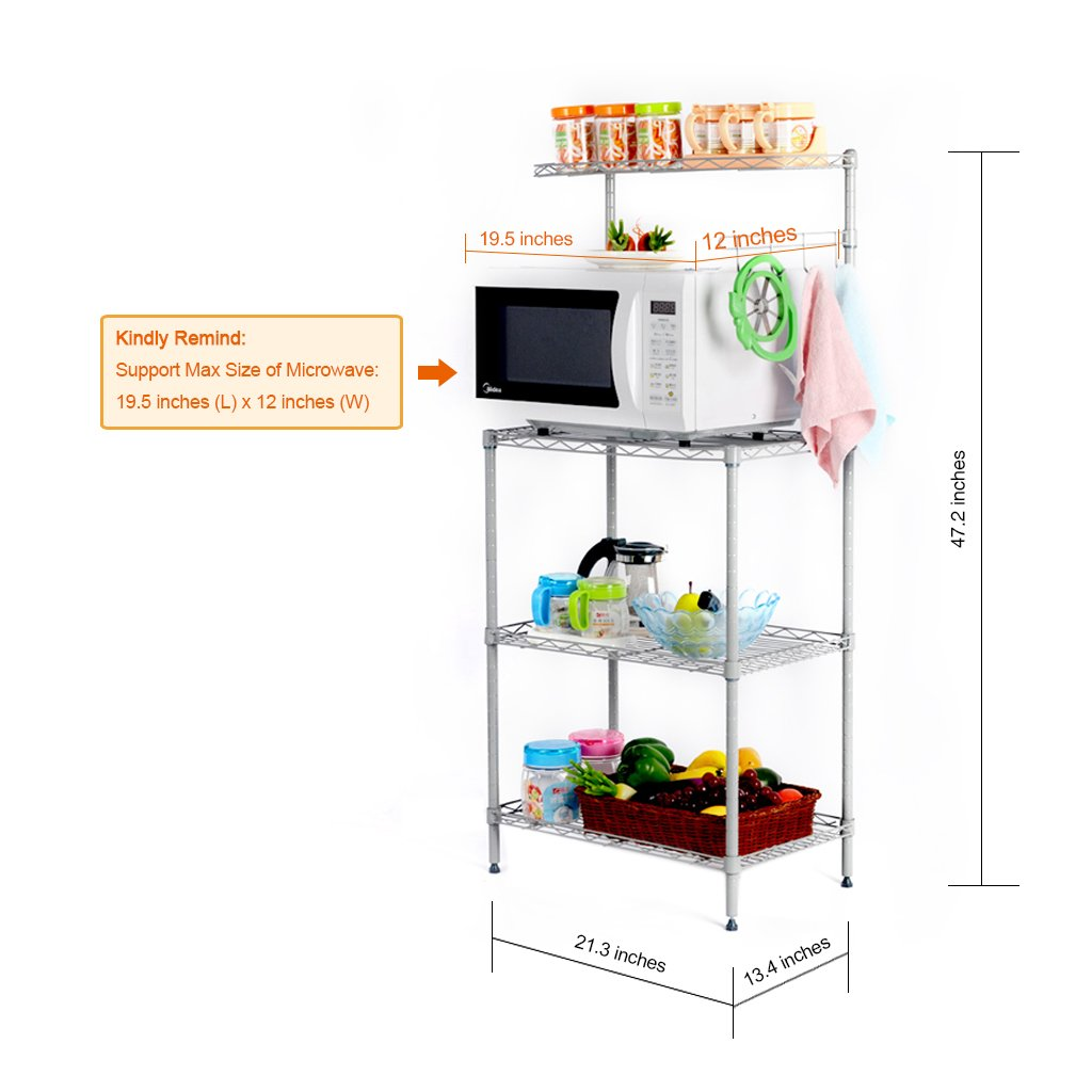 Amazon.com: LANGRIA 3 Tier Microwave Stand Storage Rack, Kitchen ...