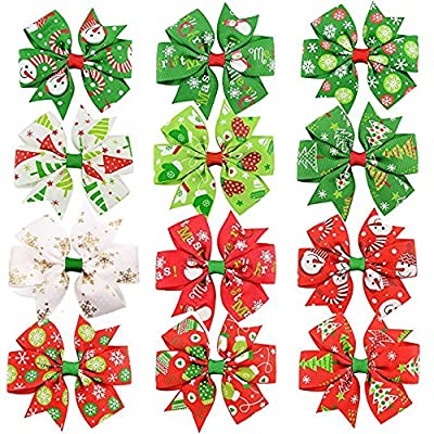 10Pcs 3 inches Boutique Baby Girls' Hair Bows Daily Wearing Christmas Gifts For Girls